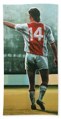 Johan Cruijff Nr 14 Painting Hand Towel by Paul Meijering
