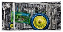 Hand Towel featuring the painting John Deere Green by Craig T Burgwardt