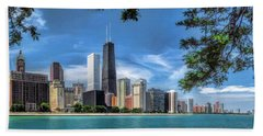 John Hancock Chicago Skyline Panorama Hand Towel