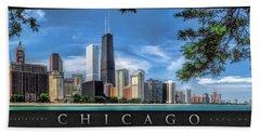 John Hancock Chicago Skyline Panorama Poster Hand Towel