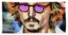 Bath Towel featuring the painting Johnny Depp Actor by Georgi Dimitrov