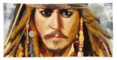 Bath Towel featuring the painting Johnny Depp Jack Sparrow Actor by Georgi Dimitrov