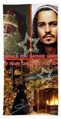 Johnny Depp Xmas Greeting Bath Towel