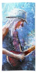 Johnny Winter Bath Towel by Miki De Goodaboom