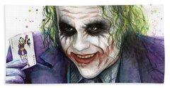 Joker Watercolor Portrait Bath Towel