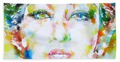 Josephine Baker - Watercolor Portrait Bath Towel by Fabrizio Cassetta