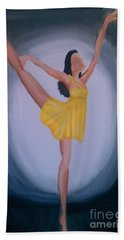 Hand Towel featuring the painting Joy by Marisela Mungia