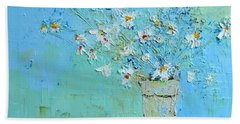 Joyful Daisies, Flowers, Modern Impressionistic Art Palette Knife Oil Painting Bath Towel