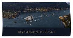 Juan Sebastian Elcano Departing The Port Of Ferrol Hand Towel