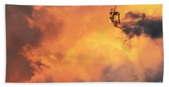 Hand Towel featuring the digital art 'jump Into The Fire' by Suzette Kallen