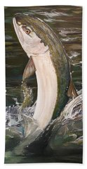 Jumping Steelhead Hand Towel