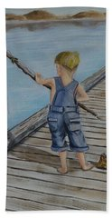 Juniors Amazing Fishing Pole Hand Towel by Kelly Mills