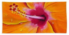 Just Peachy - Hibiscus Flower  Hand Towel by Shelia Kempf