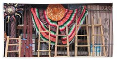 Hand Towel featuring the photograph Kachina Dolls Local Store Front by Dora Sofia Caputo Photographic Art and Design