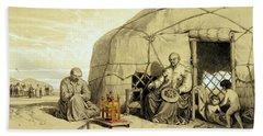 Kalmuks With A Prayer Wheel, Siberia Hand Towel
