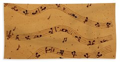 Kamasutra Music Coffee Painting Bath Towel by Georgeta  Blanaru