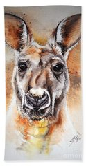 Hand Towel featuring the painting Kangaroo Big Red by Sandra Phryce-Jones