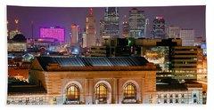 Kansas City Skyline At Night Kc Downtown Color Panorama Hand Towel
