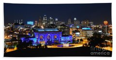 Kansas City Union Station In Blue  Hand Towel