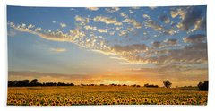 Kansas Sunflowers At Sunset Bath Towel