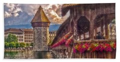 Bath Towel featuring the photograph Kapellbruecke by Hanny Heim