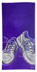 Hand Towel featuring the painting Karen's Shoes by Pamela Clements