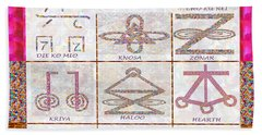 Karuna Reiki Healing Power Symbols Artwork With  Crystal Borders By Master Navinjoshi Hand Towel
