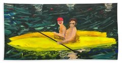 Bath Towel featuring the painting Kayaks by Donald J Ryker III