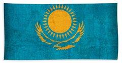 Kazakhstan Flag Vintage Distressed Finish Bath Towel