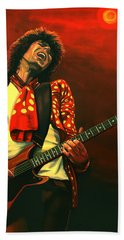 Keith Richards Painting Hand Towel by Paul Meijering