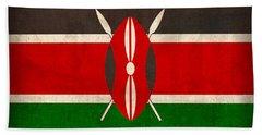 Kenya Flag Vintage Distressed Finish Bath Towel