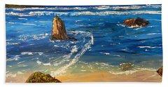 Bath Towel featuring the painting Kiama Beach by Pamela  Meredith