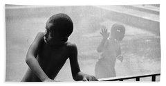 Kid In Sprinkler Hand Towel