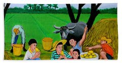 Hand Towel featuring the painting Kids Eating Mangoes by Cyril Maza