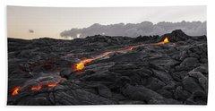 Kilauea Volcano 60 Foot Lava Flow - The Big Island Hawaii Hand Towel