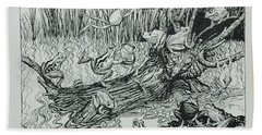 King Log, Illustration From Aesops Fables, Published By Heinemann, 1912 Engraving Hand Towel by Arthur Rackham