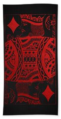 King Of Diamonds In Red On Black Canvas   Hand Towel