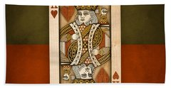 King Of Hearts In Wood Hand Towel