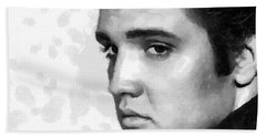 Bath Towel featuring the painting King Of Rock Elvis Presley Black And White by Georgi Dimitrov