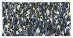 King Penguin Rookery South Georgia Hand Towel by Yva Momatiuk John Eastcott