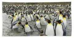 King Penguins At Gold Harbour  Hand Towel by Yva Momatiuk John Eastcott