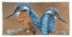 Bath Towel featuring the painting Kingfishers by Jane Girardot