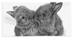 Kissing Bunnies - 035 Bath Towel by Abbey Noelle