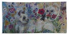 Kittens In Wildflowers Hand Towel