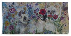 Kittens In Wildflowers Bath Towel