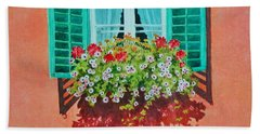 Bath Towel featuring the painting Kitzbuhel Window by Mary Ellen Mueller Legault