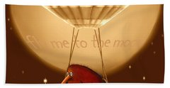 Kiwi Bird Kev - Fly Me To The Moon - Sepia Bath Towel
