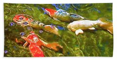 Koi 1 Bath Towel by Pamela Cooper