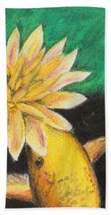 Bath Towel featuring the painting Koi And The Lotus Flower by Jeanne Fischer
