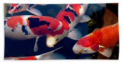 Bath Towel featuring the photograph koi by Irma BACKELANT GALLERIES